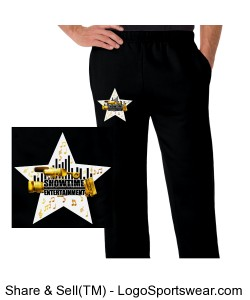 ShowEntTheMvmnt Black Men's Open Bottom Fleece Pant Design Zoom