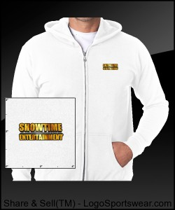 ShowEntTheMvmnt White Men's Full-Zip Hooded Sweatshirt Design Zoom