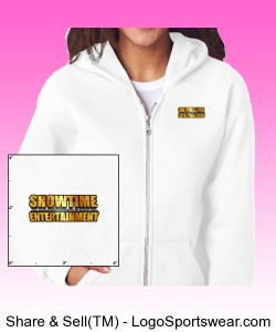 ShowEntTheMvmnt White Women's Full-Zip Hooded Sweatshirt Design Zoom